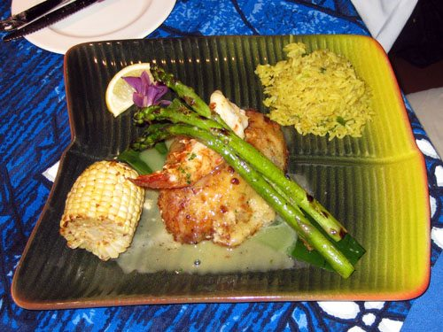 Mahi mahi fish at Mamas Fish House fine dining maui restaurants