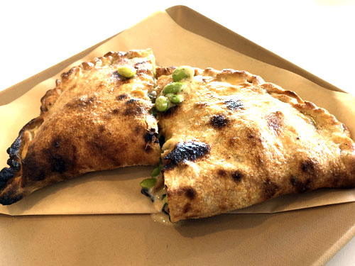 Surfside Pizza Calzone with edamame