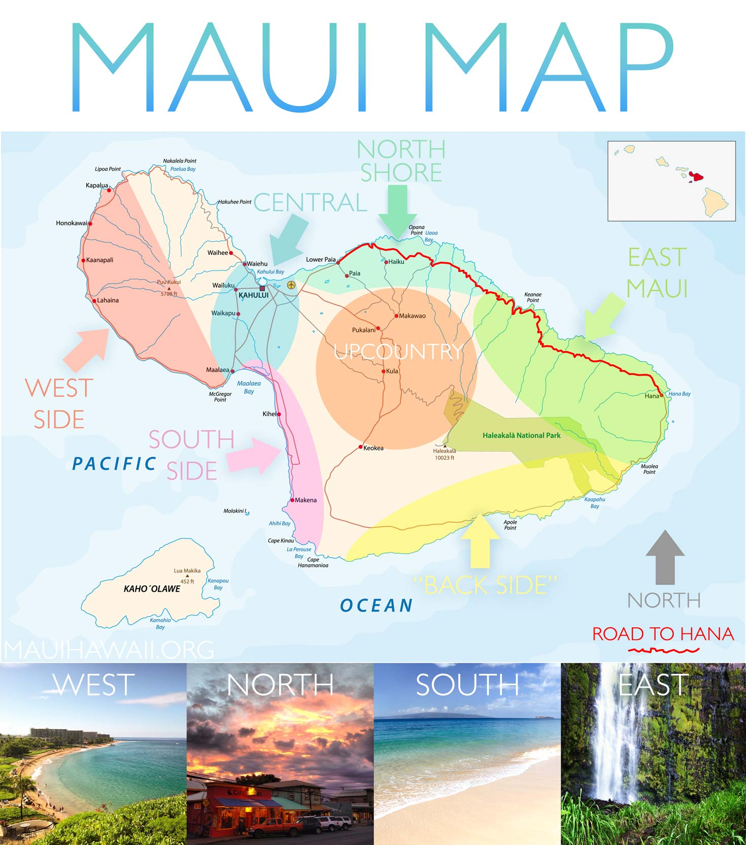 Maui Map - Map of Maui sharing south, west, east, central and north Detailed Map Of Maui on
